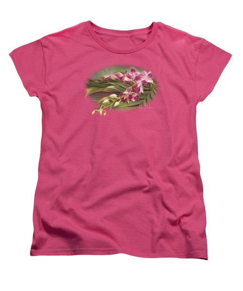 Dendrobium Orchids Women's T-Shirt (Standard Cut) by Lucie Bilodeau