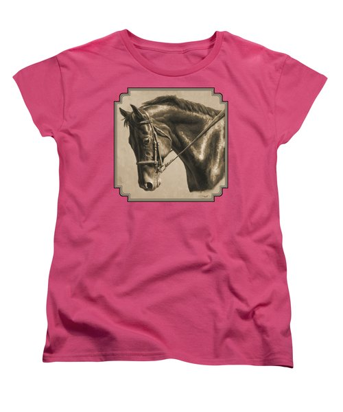 Horse Painting - Focus In Sepia Women's T-Shirt (Standard Cut) by Crista Forest