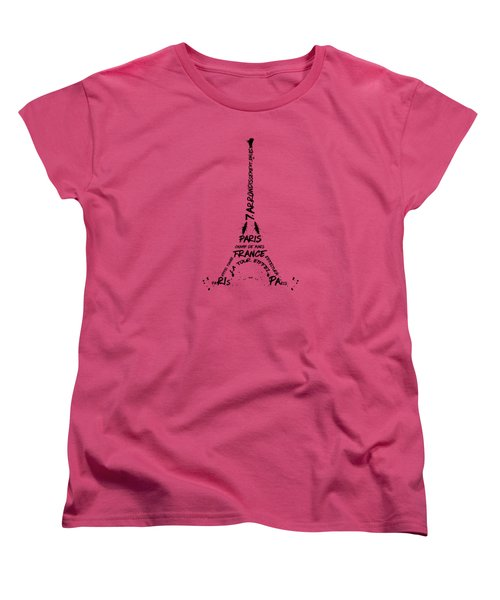 Digital Art Eiffel Tower Pattern Women's T-Shirt (Standard Cut) by Melanie Viola