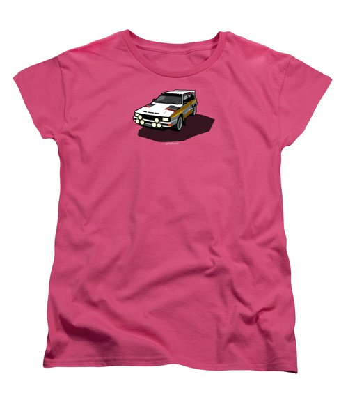 Audi Sport Quattro Ur-quattro Rally Poster Women's T-Shirt (Standard Cut) by Monkey Crisis On Mars