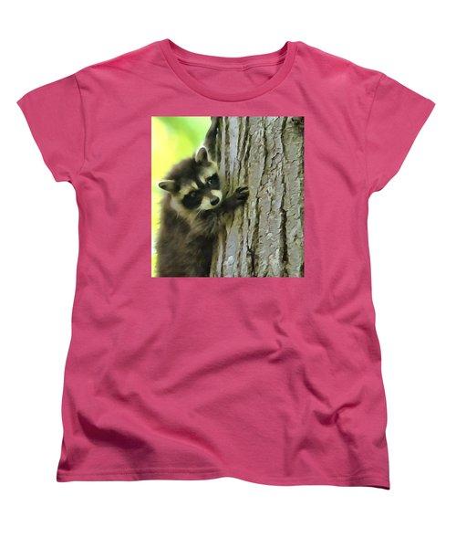 Baby Raccoon In A Tree Women's T-Shirt (Standard Cut) by Dan Sproul