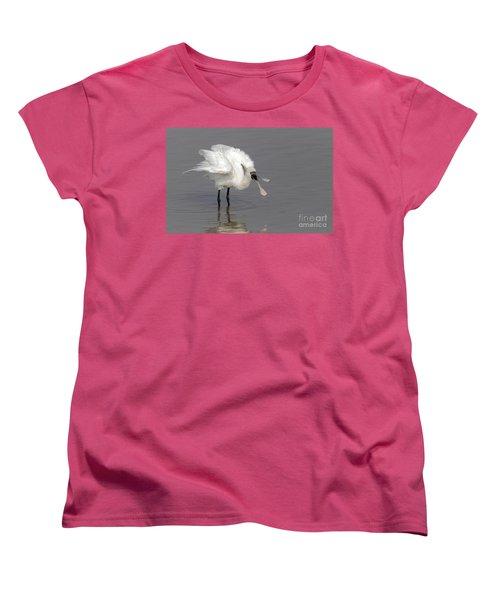 Black-faced Spoonbill Women's T-Shirt (Standard Cut) by Martin Hale/FLPA