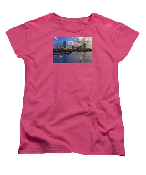 Boston Skyline Women's T-Shirt (Standard Cut) by Rick Berk