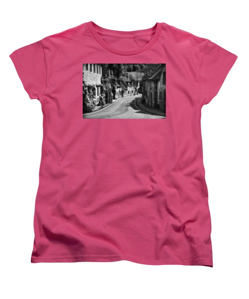 Castle Combe England 2 Bw  Women's T-Shirt (Standard Cut) by Mike Nellums