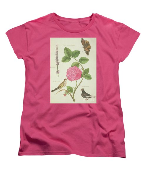 Centifolia Rose, Lavender, Tortoiseshell Butterfly, Goldfinch And Crested Pigeon Women's T-Shirt (Standard Cut) by Nicolas Robert