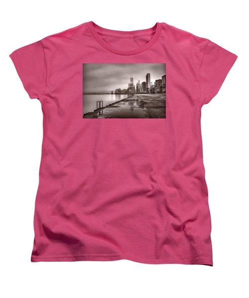 Chicago Foggy Lakefront Bw Women's T-Shirt (Standard Cut) by Steve Gadomski