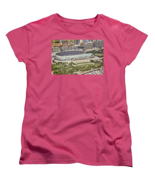 Chicago's Soldier Field Aerial Women's T-Shirt (Standard Cut) by Adam Romanowicz