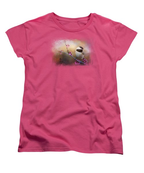 Chickadee And Pink Blooms Women's T-Shirt (Standard Cut) by Jai Johnson
