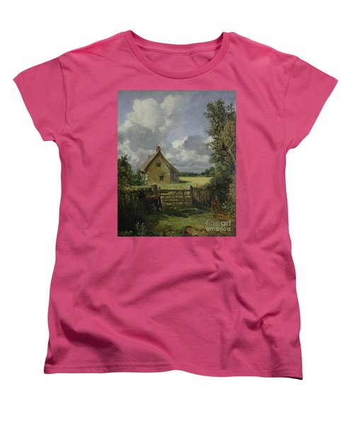 Cottage In A Cornfield Women's T-Shirt (Standard Cut) by John Constable