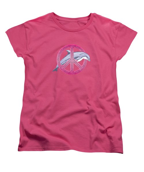 Dolphin Peace Pink Women's T-Shirt (Standard Cut) by Chris MacDonald