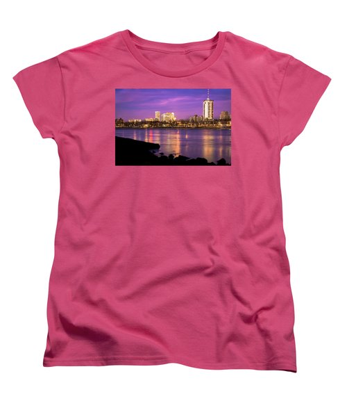 Downtown Tulsa Oklahoma - University Tower View - Purple Skies Women's T-Shirt (Standard Cut) by Gregory Ballos