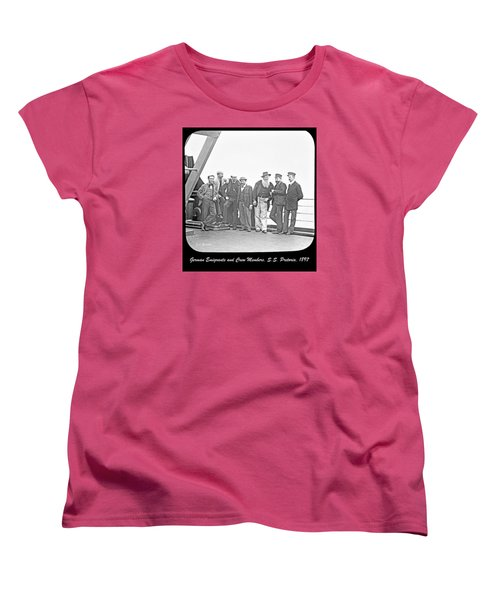 Women's T-Shirt (Standard Cut) featuring the photograph Emigrants Passangers And Crew Members On Deck Of Ss Pretori by A Gurmankin