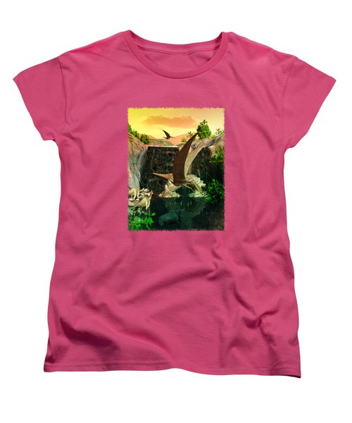 Fantasy Worlds 3d Dinosaur 2 Women's T-Shirt (Standard Cut) by Sharon and Renee Lozen