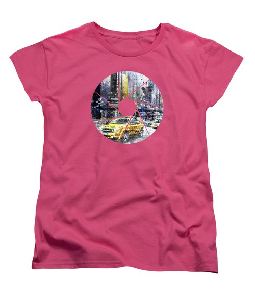 Graphic Art New York City Taxis And Manhattan Skyline Women's T-Shirt (Standard Cut) by Melanie Viola