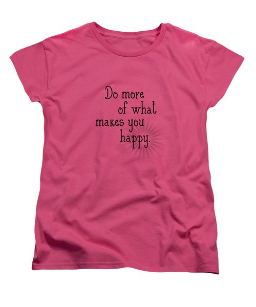 Text Art Happy Women's T-Shirt (Standard Cut) by Melanie Viola