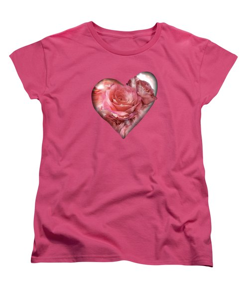 Heart Of A Rose - Melon Peach Women's T-Shirt (Standard Cut) by Carol Cavalaris