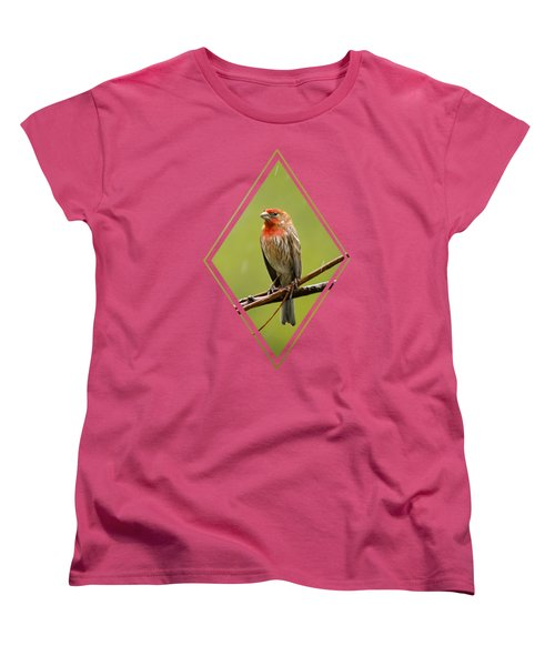 House Finch In The Rain Women's T-Shirt (Standard Cut) by Christina Rollo