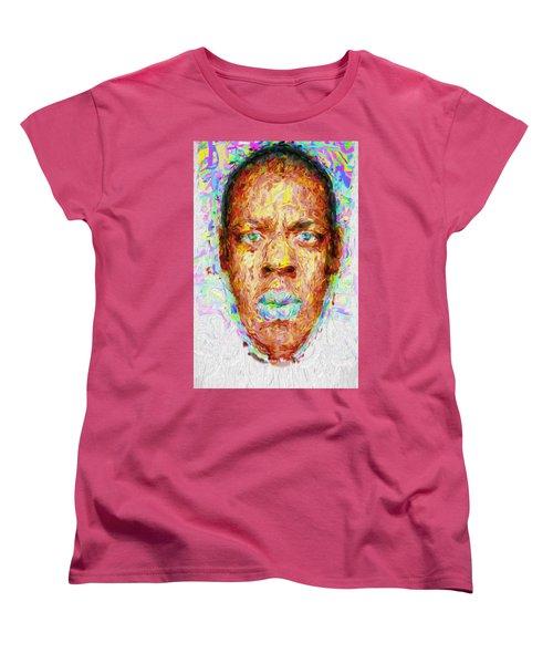 Jay Z Painted Digitally 2 Women's T-Shirt (Standard Cut) by David Haskett