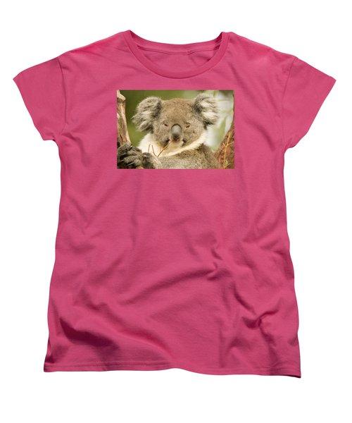 Koala Snack Women's T-Shirt (Standard Cut) by Mike  Dawson