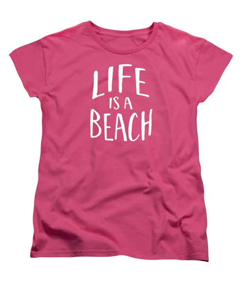 Women's T-Shirt featuring the drawing Life Is A Beach White Ink Tee by Edward Fielding