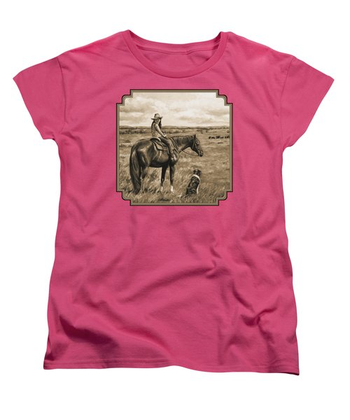 Little Cowgirl On Cattle Horse In Sepia Women's T-Shirt (Standard Cut) by Crista Forest