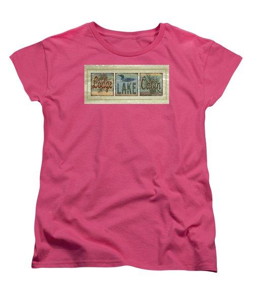 Lodge Lake Cabin Sign Women's T-Shirt (Standard Cut) by Joe Low