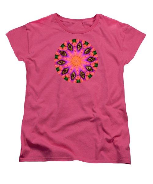Mandala Salmon Burst - Prints With Salmon Color Background Women's T-Shirt (Standard Cut) by Hao Aiken