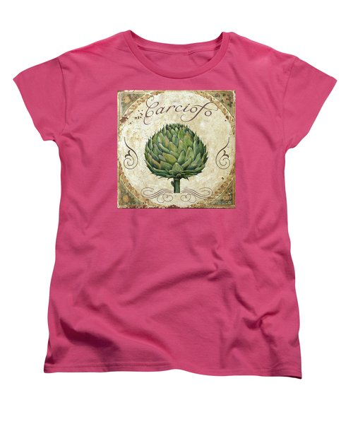 Mangia Artichoke Women's T-Shirt (Standard Cut) by Mindy Sommers