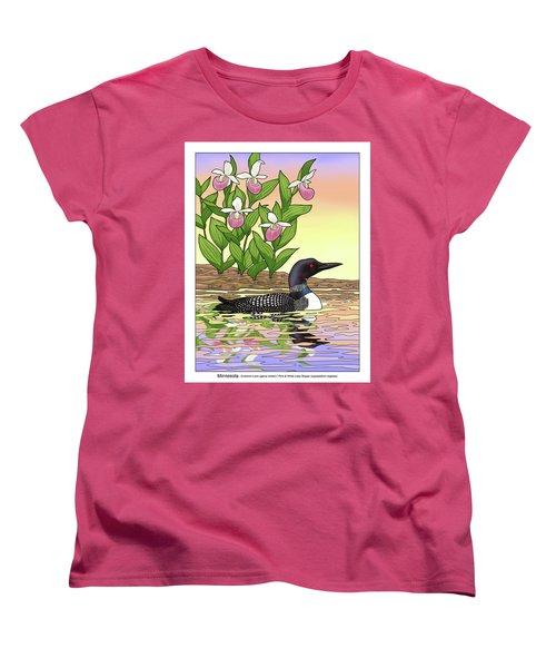 Minnesota State Bird Loon And Flower Ladyslipper Women's T-Shirt (Standard Cut) by Crista Forest