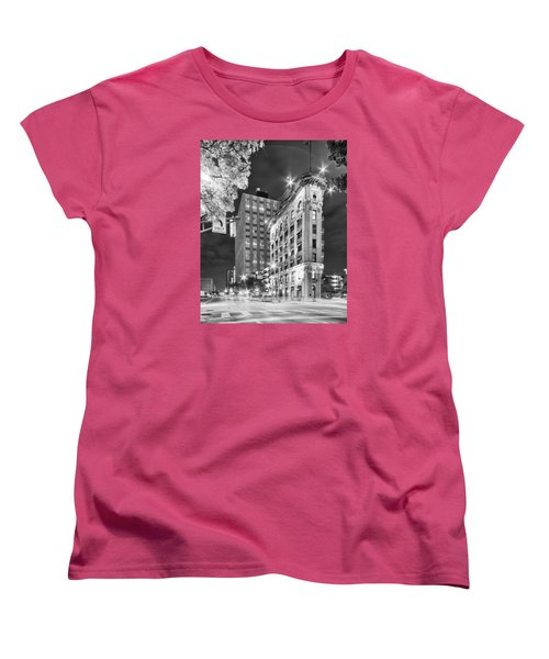 Night Photograph Of The Flatiron Or Saunders Triangle Building - Downtown Fort Worth - Texas Women's T-Shirt (Standard Cut) by Silvio Ligutti