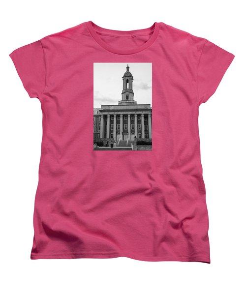 Old Main Penn State Black And White Women's T-Shirt (Standard Cut) by John McGraw