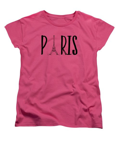 Paris Typography Women's T-Shirt (Standard Cut) by Melanie Viola