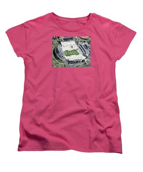 Penn State Beaver Stadium Whiteout Game University Psu Nittany Lions Joe Paterno Women's T-Shirt (Standard Cut) by Laura Row