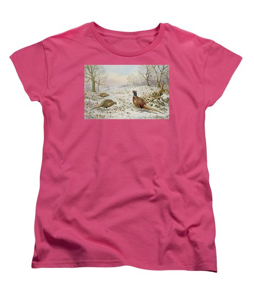 Pheasant And Partridges In A Snowy Landscape Women's T-Shirt (Standard Cut) by Carl Donner