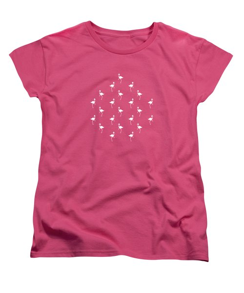 Pink Flamingos Pattern Women's T-Shirt (Standard Cut) by Christina Rollo