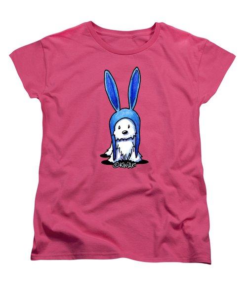 Rabbit Ears Westie Women's T-Shirt (Standard Cut) by Kim Niles