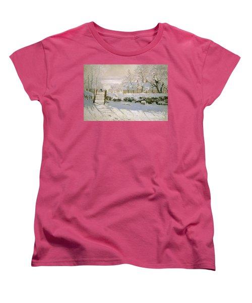 The Magpie Women's T-Shirt (Standard Cut) by Claude Monet