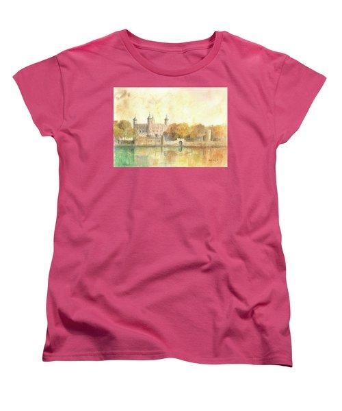 Tower Of London Watercolor Women's T-Shirt (Standard Cut) by Juan Bosco