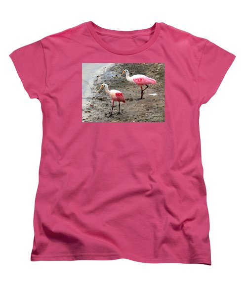 Two Roseate Spoonbills Women's T-Shirt (Standard Cut) by Carol Groenen