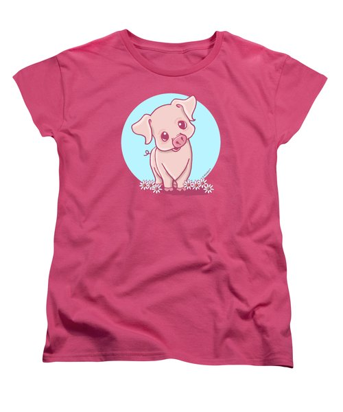 Yittle Piggy Women's T-Shirt (Standard Cut) by Kim Niles