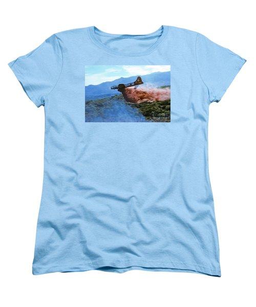 Women's T-Shirt (Standard Cut) featuring the photograph  B-17 Air Tanker Dropping Fire Retardant by Bill Gabbert