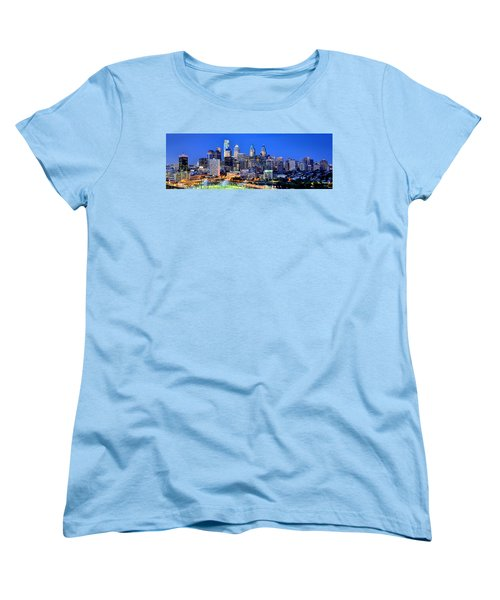 Philadelphia Skyline At Night Evening Panorama Women's T-Shirt (Standard Cut) by Jon Holiday