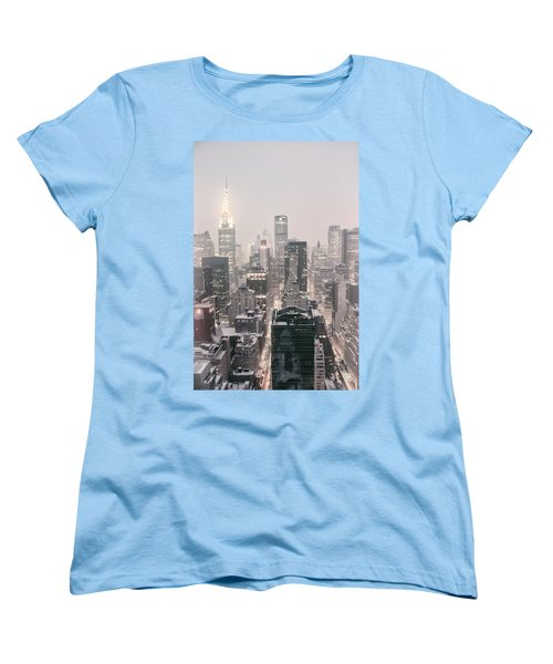 New York City - Snow Covered Skyline Women's T-Shirt (Standard Cut) by Vivienne Gucwa