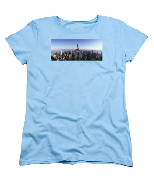 Aerial View Of A Cityscape, Empire Women's T-Shirt (Standard Cut) by Panoramic Images