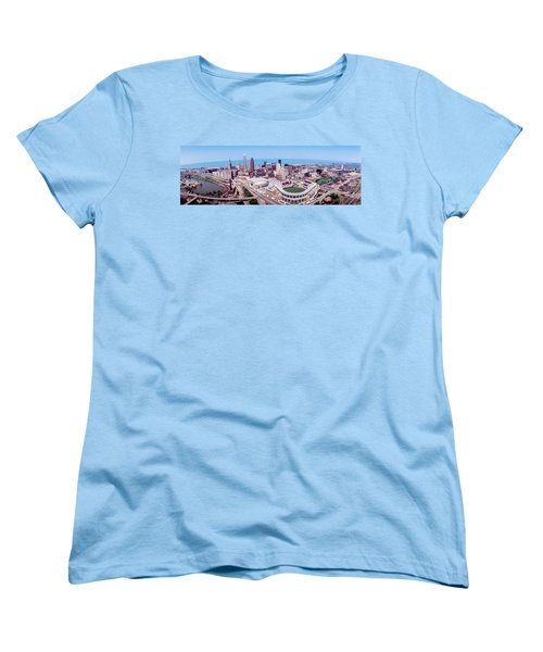 Aerial View Of Jacobs Field, Cleveland Women's T-Shirt (Standard Cut) by Panoramic Images