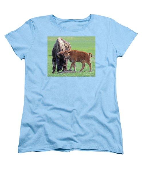 Women's T-Shirt (Standard Cut) featuring the photograph Bison With Young Calf by Bill Gabbert