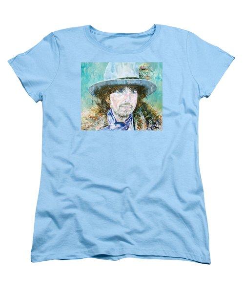 Bob Dylan Oil Portrait Women's T-Shirt (Standard Cut) by Fabrizio Cassetta