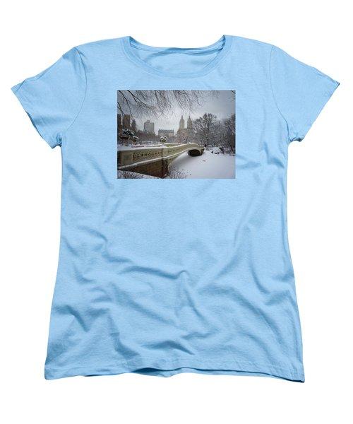 Bow Bridge Central Park In Winter  Women's T-Shirt (Standard Cut) by Vivienne Gucwa