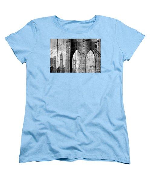 Brooklyn Bridge New York City Usa Women's T-Shirt (Standard Cut) by Sabine Jacobs
