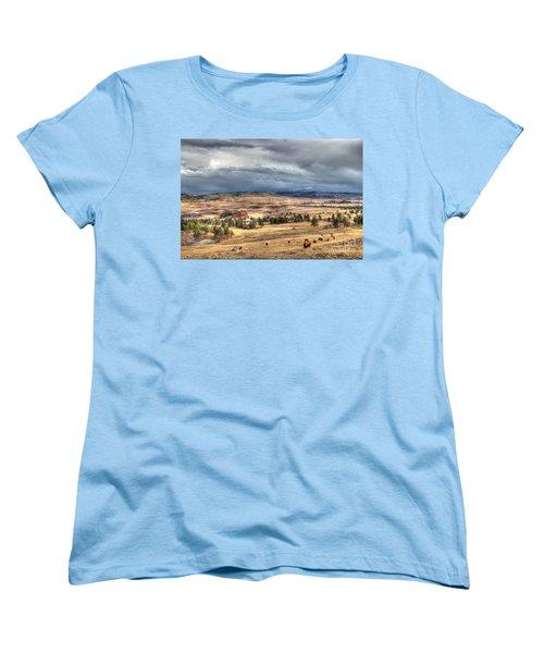 Women's T-Shirt (Standard Cut) featuring the photograph Buffalo Before The Storm by Bill Gabbert